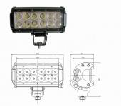 LED фара 36w дальнего света 16см