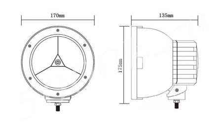 LED фара 45w chrome Spot 170mm_2
