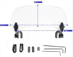 Дополнительный ветровик для мотоцикла дымчатый 360мм_1